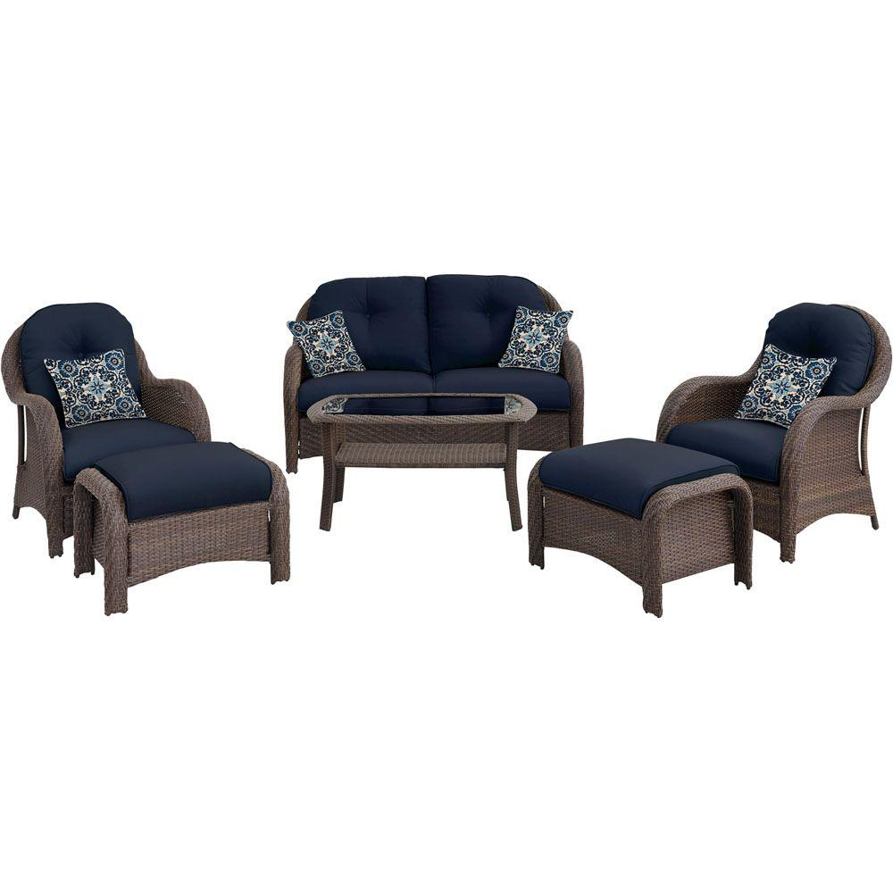 Hanover Newport 6 Piece All Weather Wicker Woven Patio Seating Set With Navy Blue
