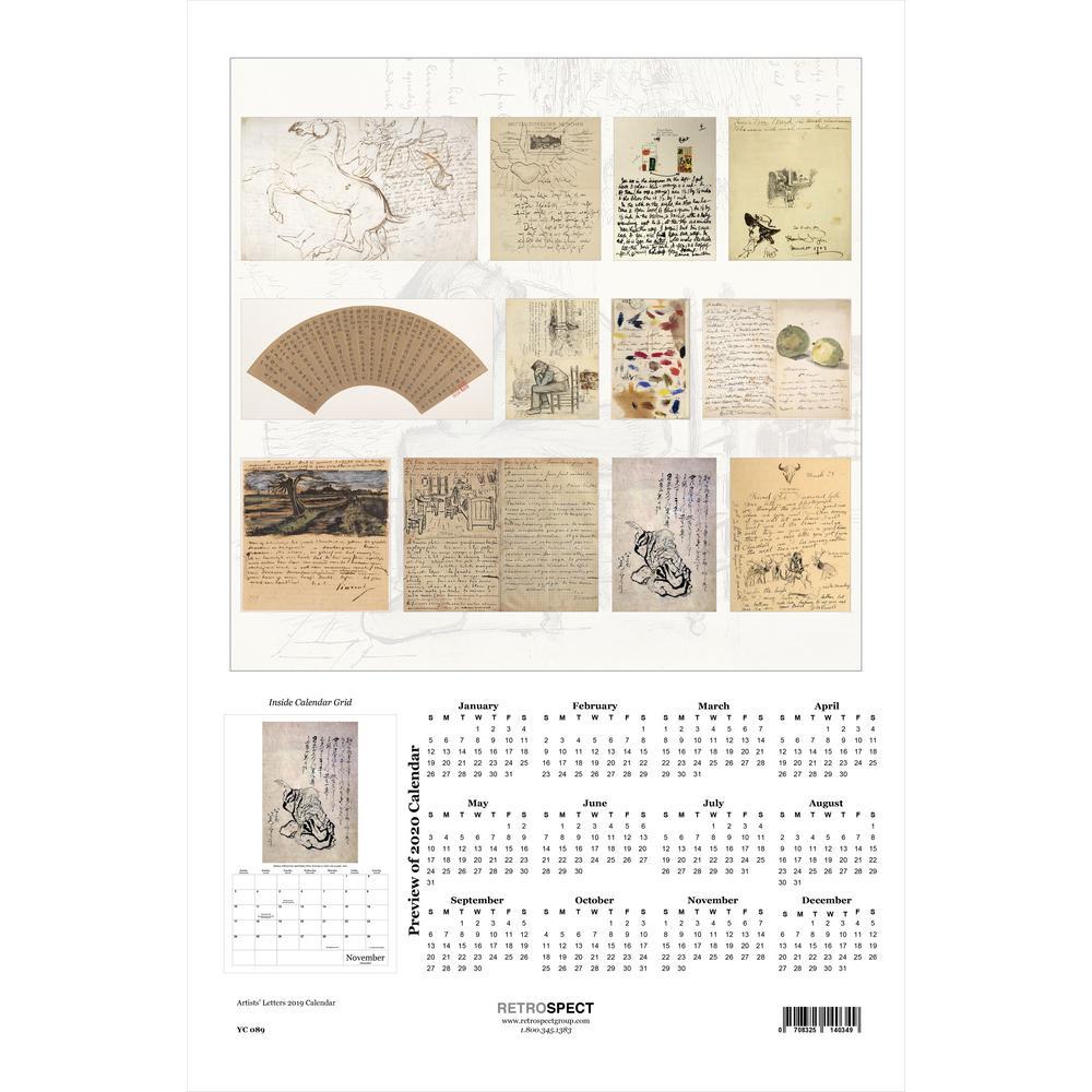 19 in. x 12.5 in. Artists Letters - 2019 Calendar