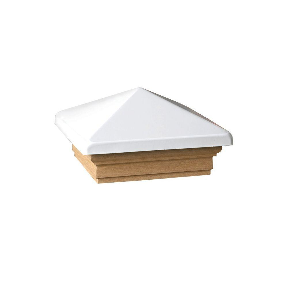 Verona 4 in. x 4 in. White High Point Post Cap