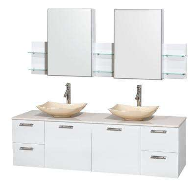 Amare 72 in. Double Vanity in Glossy White with Solid-Surface Vanity Top in White, Marble Sinks and Medicine Cabinet