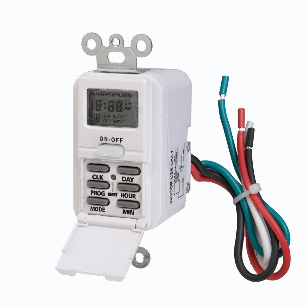 Westek Digital In Wall Timer White Tmdw10 The Home Depot Wiring Money To Canada
