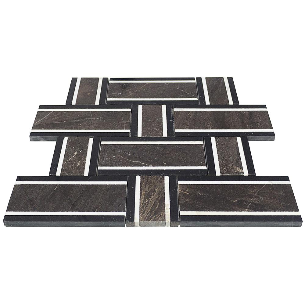 Ivy Hill Tile Mingle Chocolate Interlocking 12-7/8 in. x 12-3/4 in. Marble Mosaic Tile (1.14 sq. ft.)