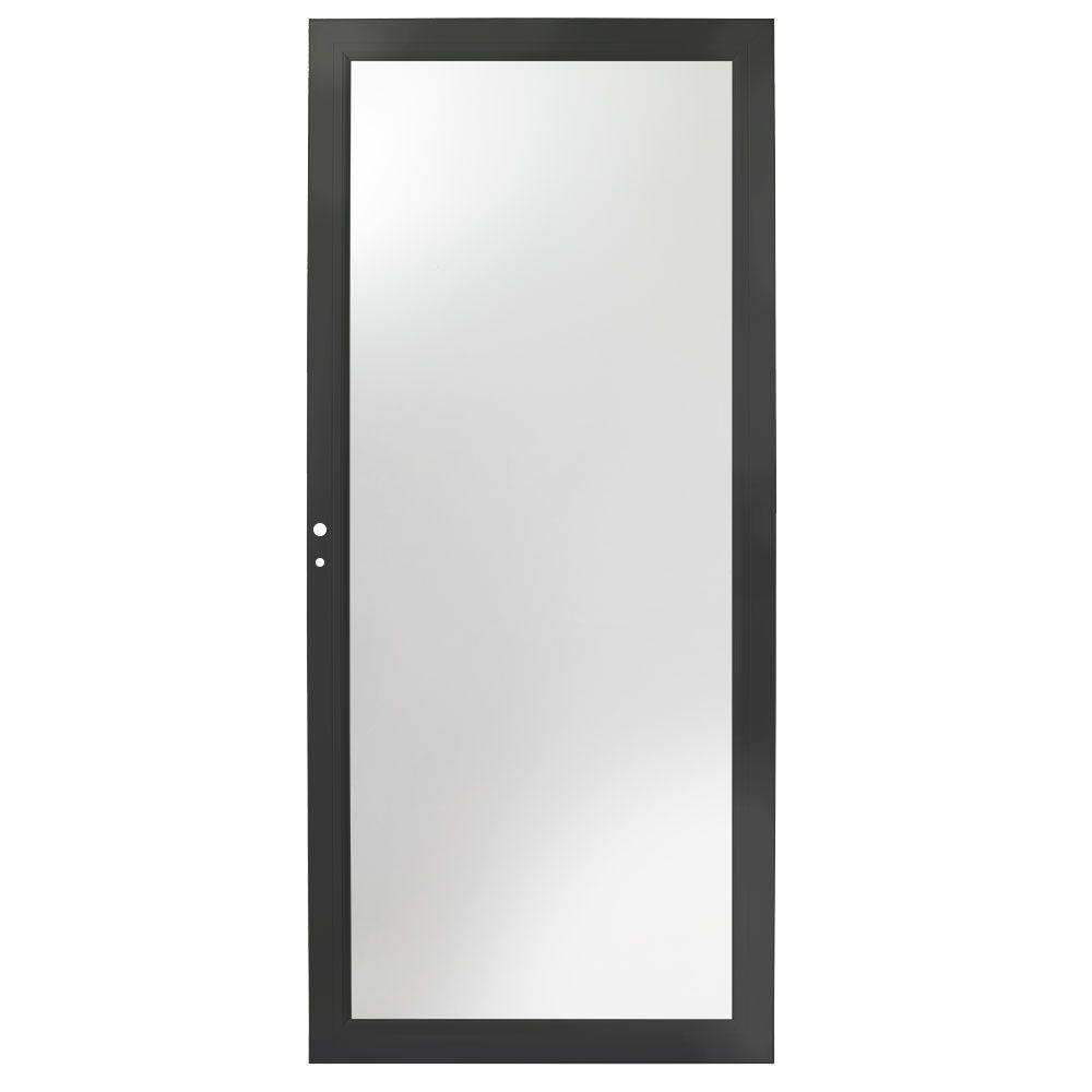 36 in. x 80 in. 3000 Series Black Left-Hand Fullview Easy Install Aluminum Storm Door