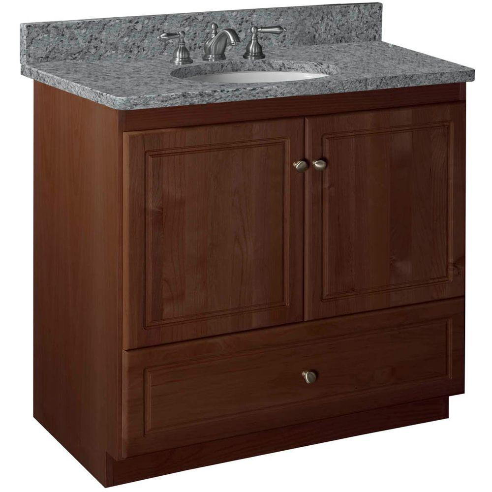 Ultraline 36 in. W x 21 in. D x 34.5 in. H Vanity with No Side Drawers Cabinet Only in Dark Alder