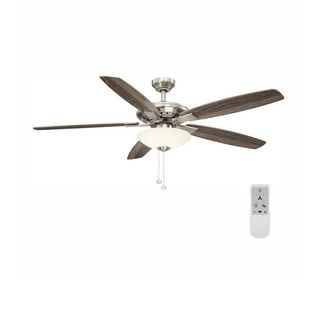 Hampton Bay Menage 56 in. Integrated LED Brushed Nickel Ceiling Fan with Light and Remote Control Works with Google and Alexa