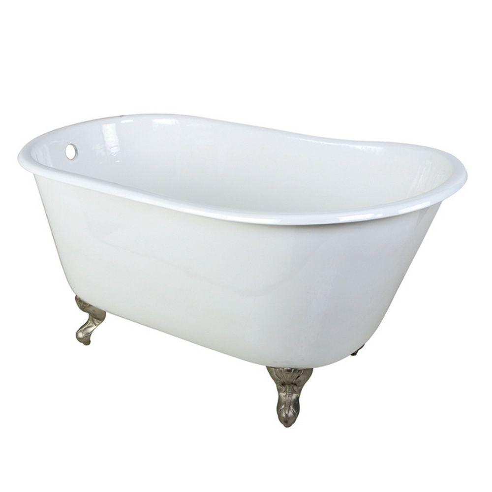 4.4 ft. Cast Iron Satin Nickel Claw Foot Petite Slipper Tub