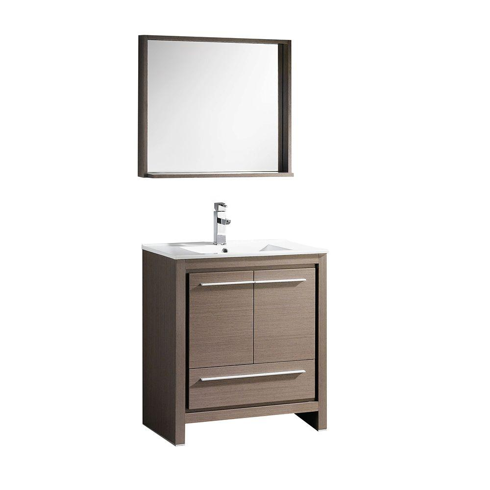 Fresca Allier 30 In Vanity In Gray Oak With Ceramic Vanity Top In White With White Basin And Mirror Fvn8130go The Home Depot