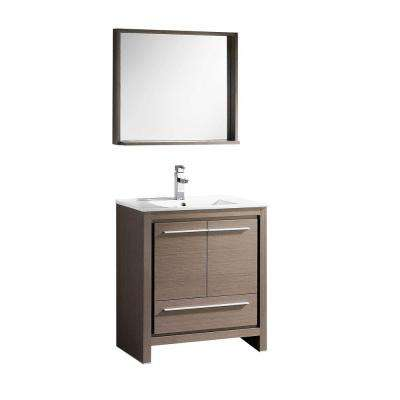 Allier 30 in. Vanity in Gray Oak with Ceramic Vanity Top in White with White Basin and Mirror