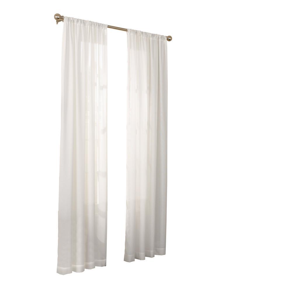 Chelsea UV Light Filtering Sheer Window Curtain Panel in White - 52 in. W x 63 in. L