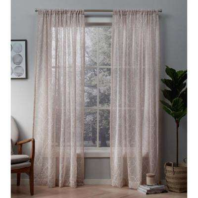 Cali 50 in. W x 108 in. L Sheer Rod Pocket Top Curtain Panel in Blush (2 Panels)