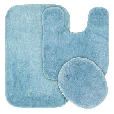 Traditional 3 Piece Washable Bathroom Rug Set in Basin Blue