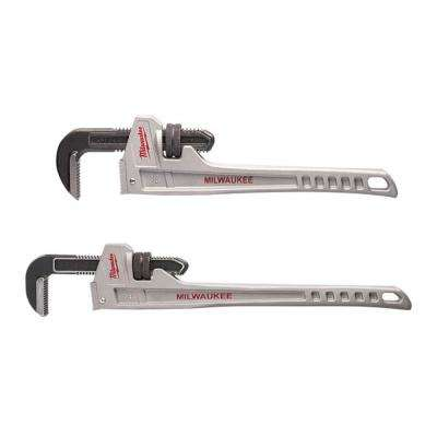 24 in  and 18 in  Aluminum Pipe Wrench Set (2-Piece)