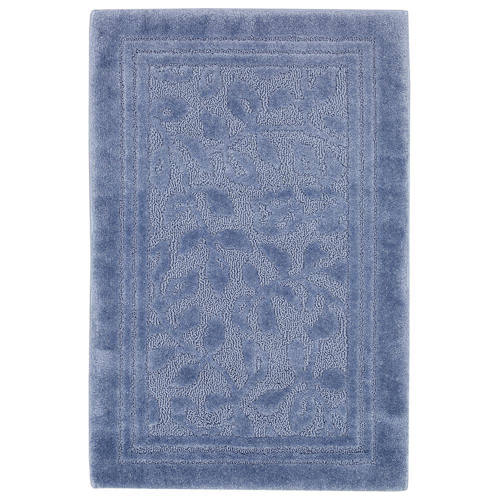 Wellington 30 in. x 50 in. Nylon Bath Rug in Blue