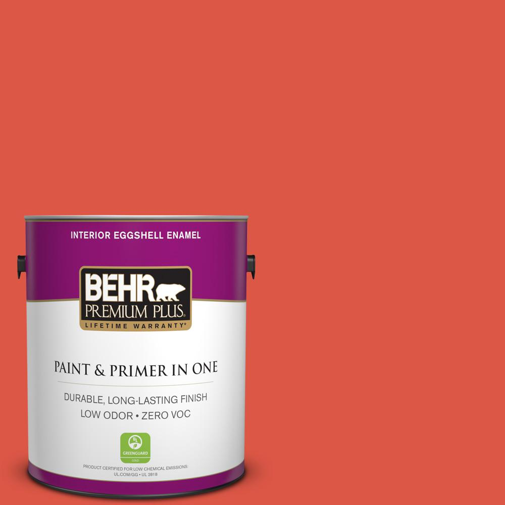 BEHR Premium Plus 1-gal. #T12-7 Red Wire Zero VOC Eggshell Enamel Interior Paint