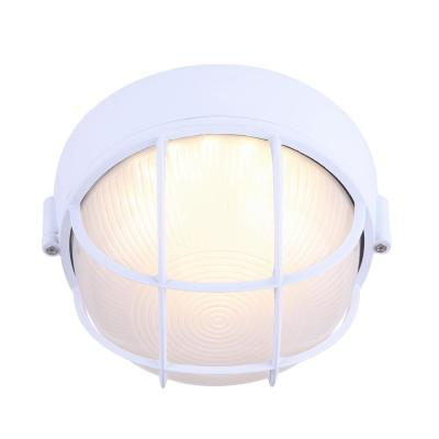 1-Light White LED Outdoor Flush Mount Light with Frosted Glass
