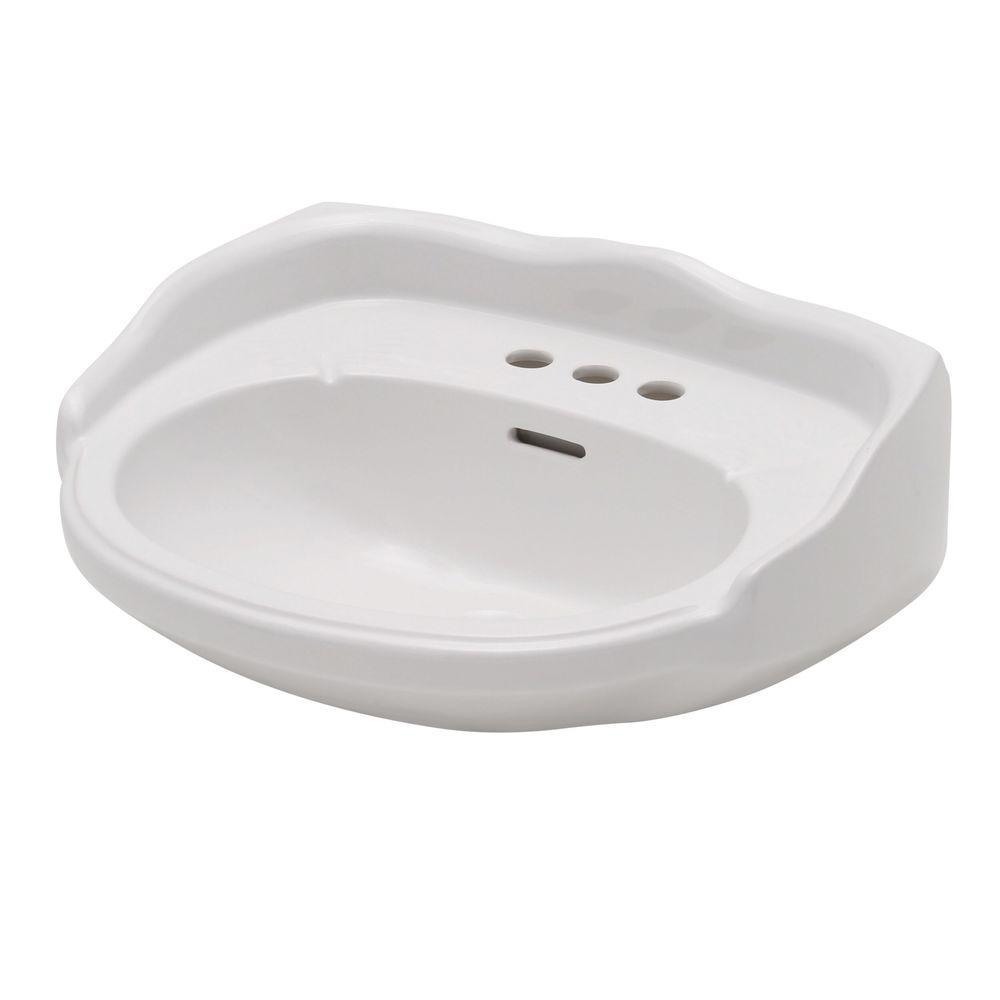 Elizabethan Classics Aberdeen 21-7/8 in. Petite Pedestal Lavatory Basin Only for 4 in. Centerset Faucet in White