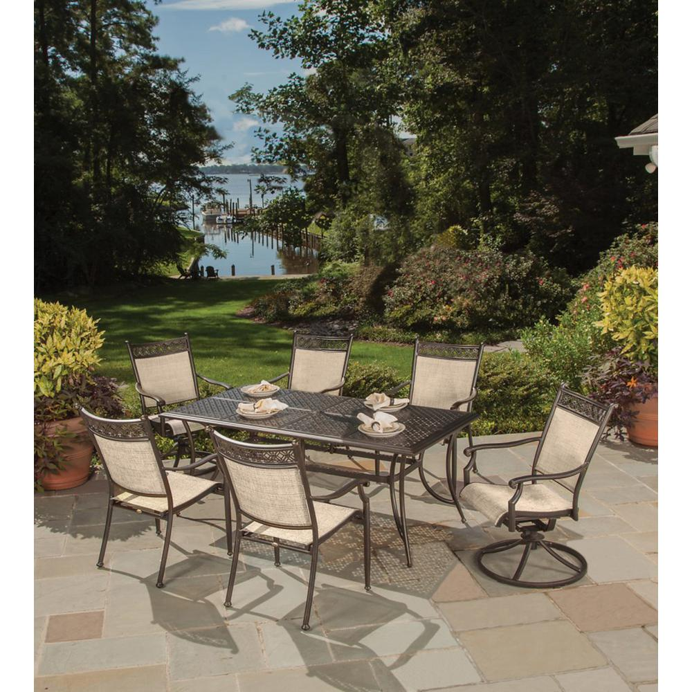 Bali Cast Aluminum and Sling 7-Piece Outdoor Dining Set