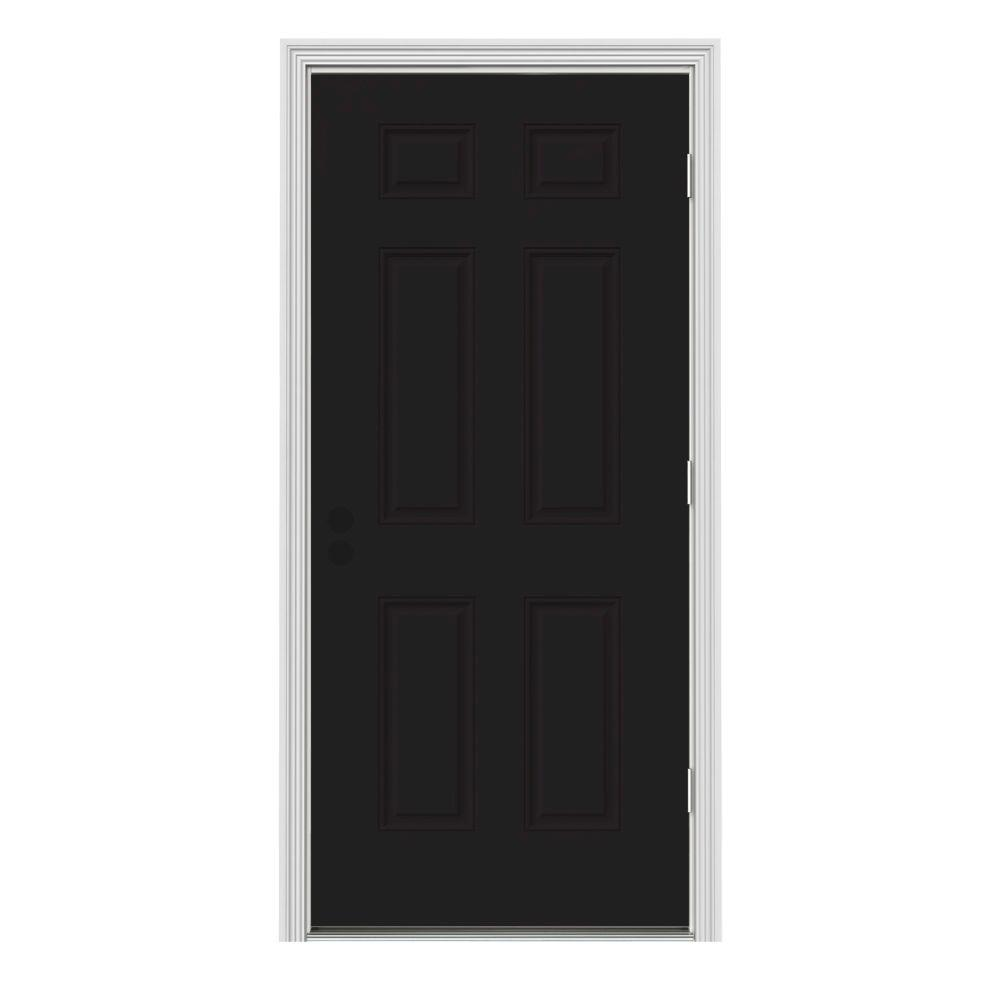 Jeld Wen 30 In X 80 In 6 Panel Black Painted W White Interior Steel Prehung Left Hand