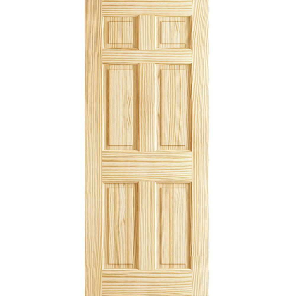30 in. x 80 in. x 1.375 in. 6 Panel Colonial Double Hip Pine Interior Door Slab