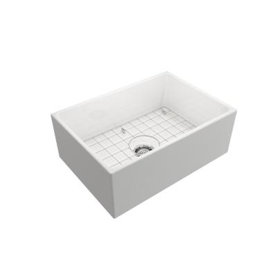 Farmhouse Apron-Front Fireclay 27 in. Single Bowl Kitchen Sink in White with Grid
