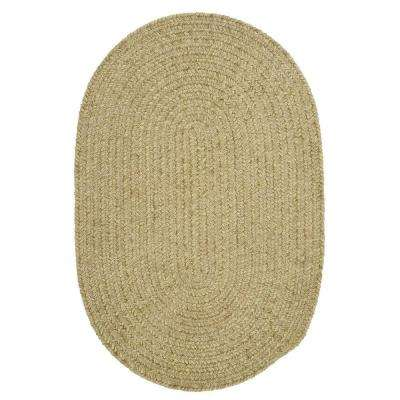 Dover Chenille Celery 6 ft. x 9 ft. Oval Braided Area Rug