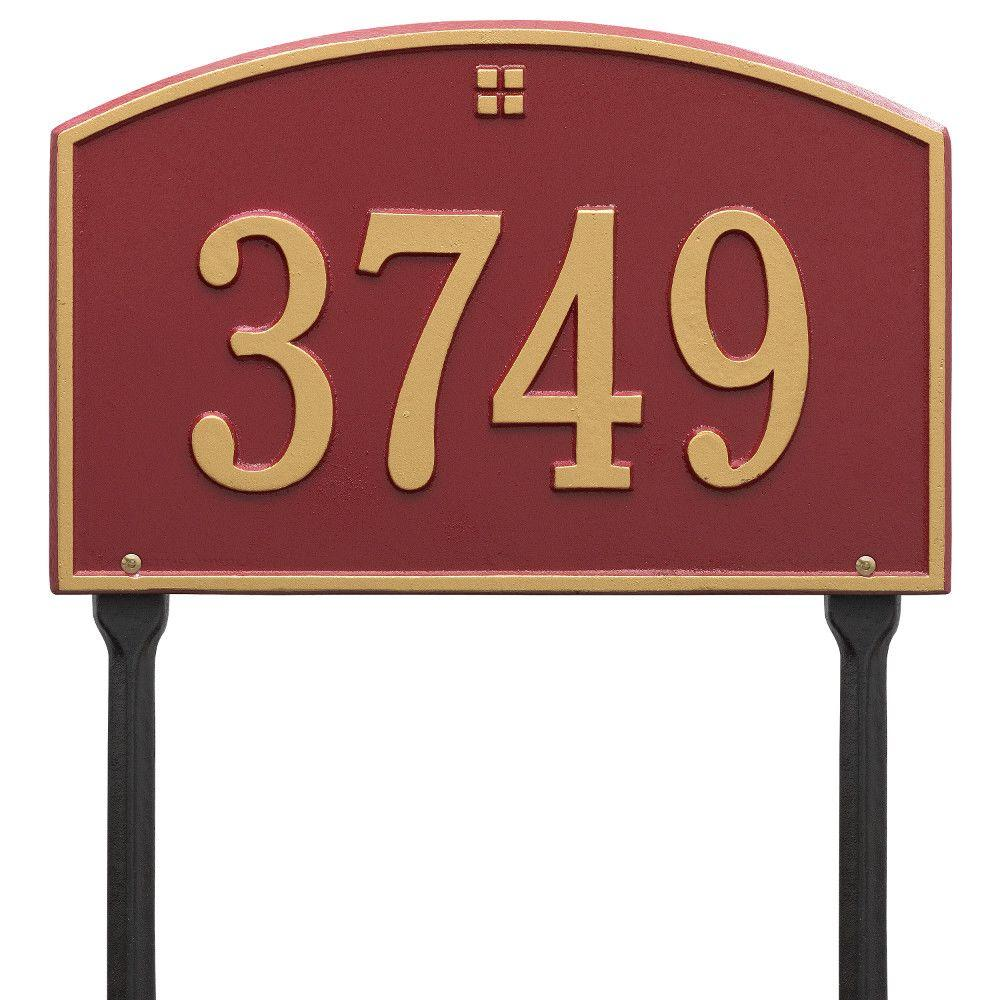 Cape Charles Standard Rectangular Red/Gold Lawn 1-Line Address Plaque