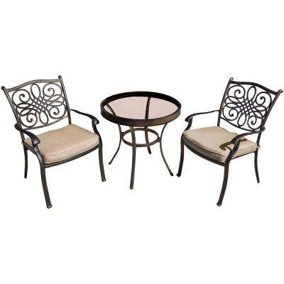 Seasons 3-Piece Bistro Set with 30 in. Glass-Top Table and Tan Cushions