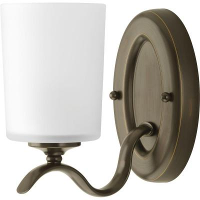 Inspire 1-Light Antique Bronze Bath Sconce with Etched Glass Shade