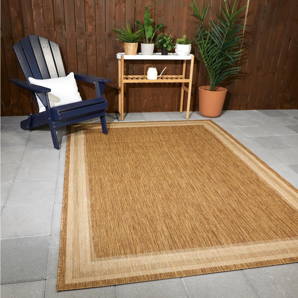 Border Grain Chestnut 5 ft. x 7 ft. Indoor/Outdoor Area Rug