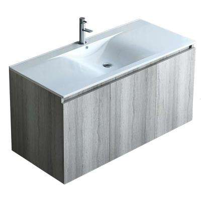 36 in. W x 18 in. D x 20 in. H Floating Wall Mount Bath Vanity in Rock Oak with Vanity Top in White with White Basin