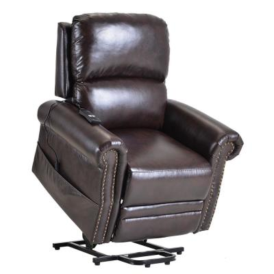 Retro Brown PU Leather Heavy Duty Power Lift Recliner Chair with Remote Function