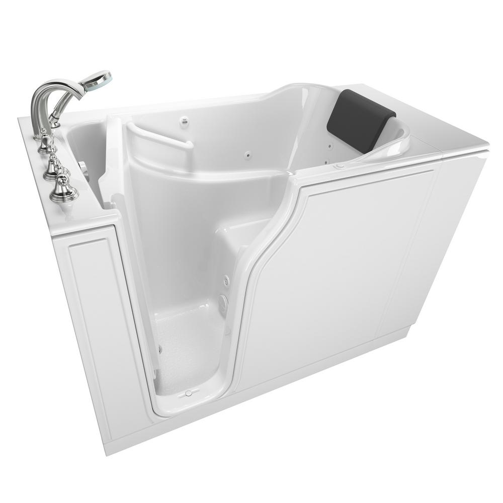American Standard Gelcoat Premium Series 52 in. x 30 in. Left Hand Walk-In Whirlpool Bathtub in White