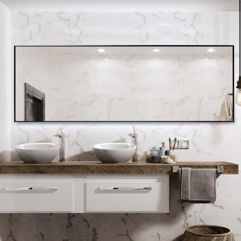 71 in. x 24 in Modern Rectangle Oversized Metal Framed Bathroom Wall Mounted Vanity Mirror