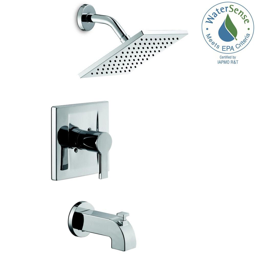 Glacier Bay Modern Single-Handle 1-Spray Tub and Shower Faucet in Chrome (Valve Included)