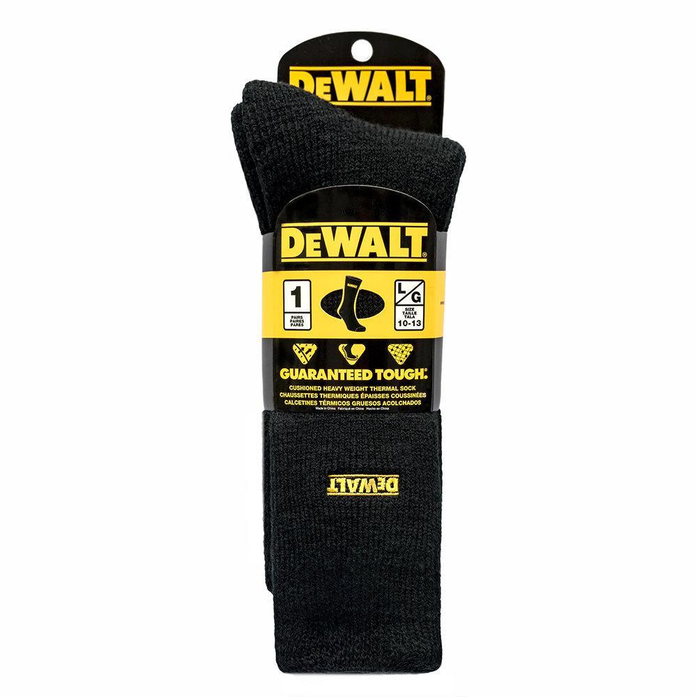 Dewalt Men 10 13 Black Brushed Heat Holder Sock Dxsc101