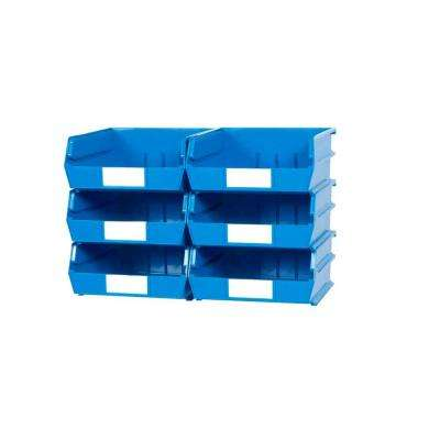 LocBin 2.13-Gal. Wall Storage Bin System in Blue (6-Bins) and 2- Wall Mount Rails