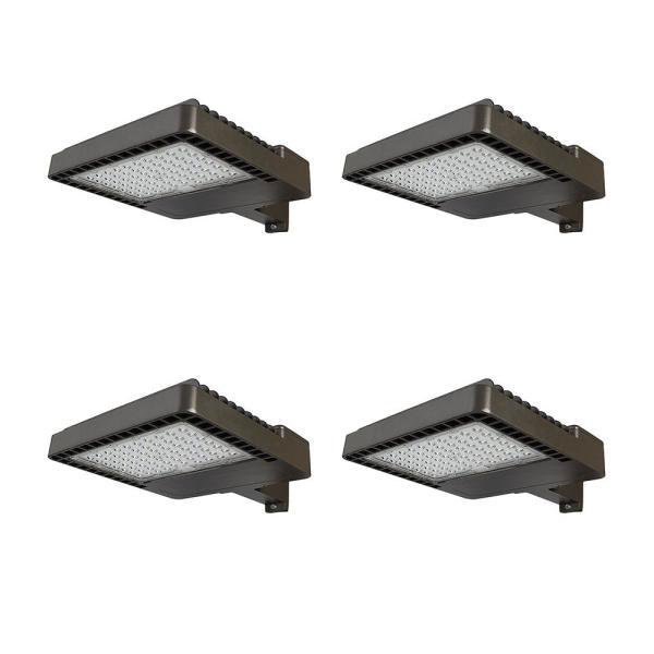 400-Watt Equivalent Integrated LED Bronze Dusk to Dawn Area and Flood Light with 18,000 Lumens Outdoor Light (4-Pack)
