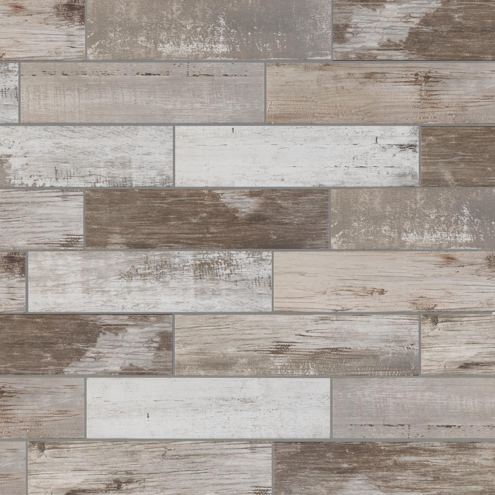 Florida Tile Home Collection Painted Wood Beige 6 in. x 24 in. Porcelain Floor and Wall Tile (448 sq. ft./ pallet)