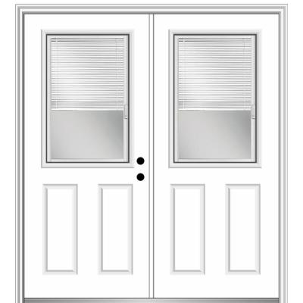 60 in. x 80 in. Internal Blinds Left-Hand Inswing 1/2-Lite Clear Glass 2-Panel Primed Steel Prehung Front Door