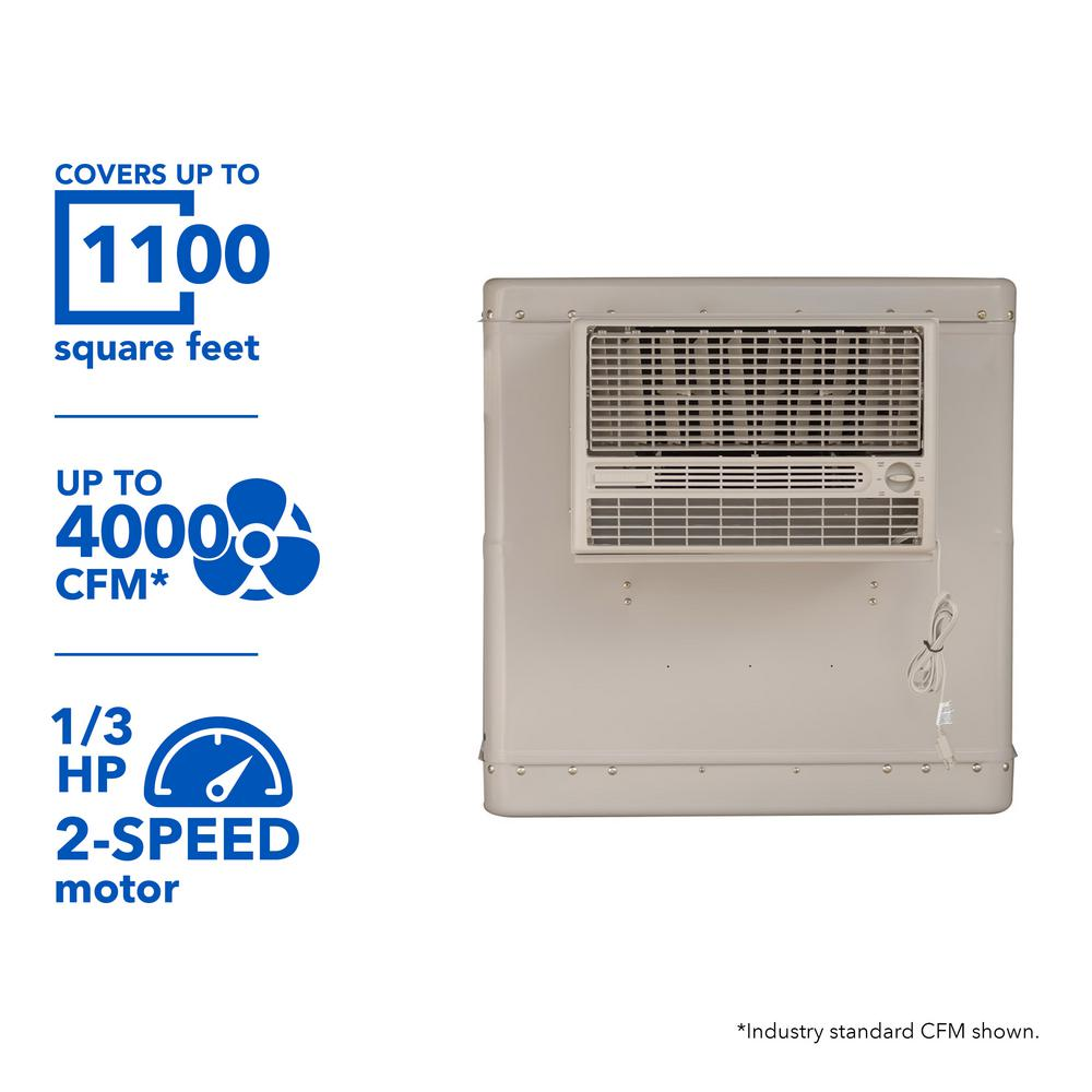 4000 CFM 2-Speed Front Discharge Window Evaporative Cooler for 1100 sq.