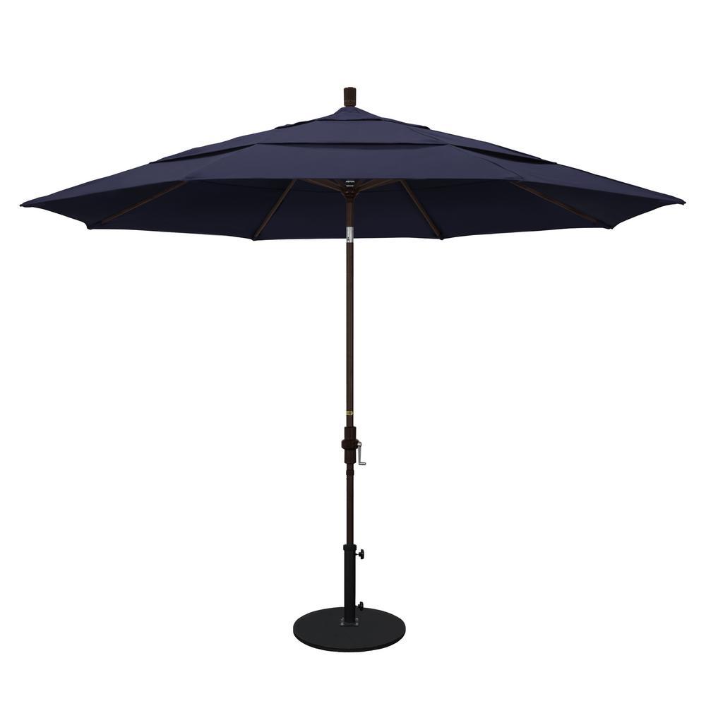 11 ft. Bronze Aluminum Pole Market Aluminum Ribs Crank Lift Outdoor Patio Umbrella in Navy Sunbrella