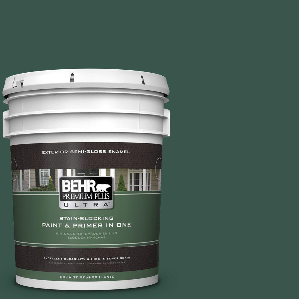 BEHR Premium Plus Ultra 5-gal. #PPF-02 Patio Green Semi-Gloss Enamel Exterior Paint