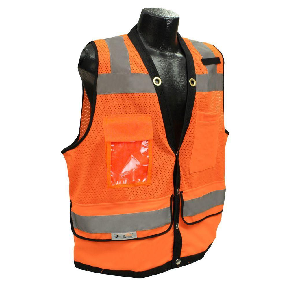 CL 2 Heavy Duty 5X Surveyor Orange Dual Safety Vest