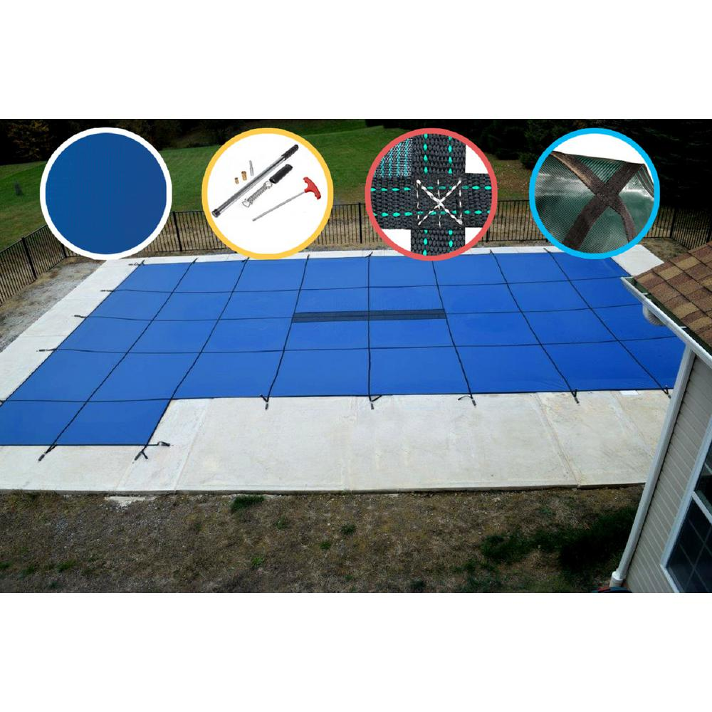 WaterWarden 18 ft. x 36 ft. Rectangle Blue Solid In-Ground Safety Pool Cover Left Side Step