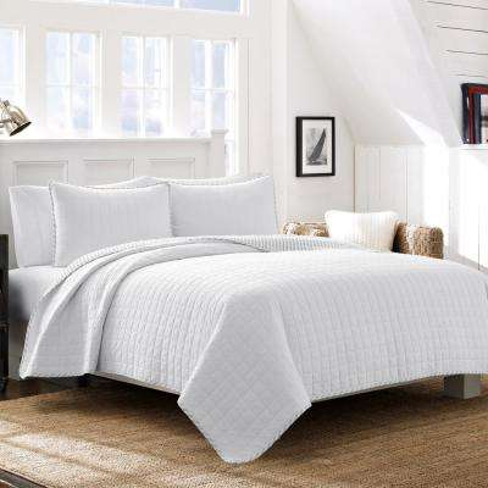 Maywood White 3-Piece King Quilt Set
