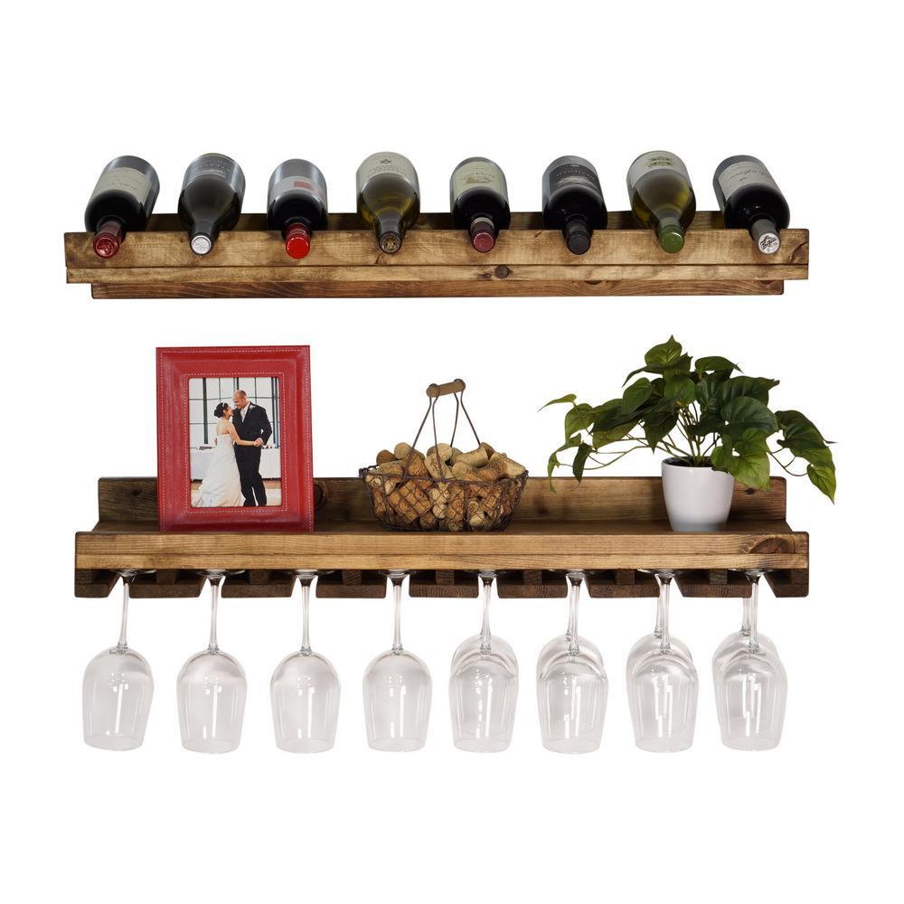 Rustic Luxe 8-Bottle Dark Walnut Wood Wall Mounted Wine Rack