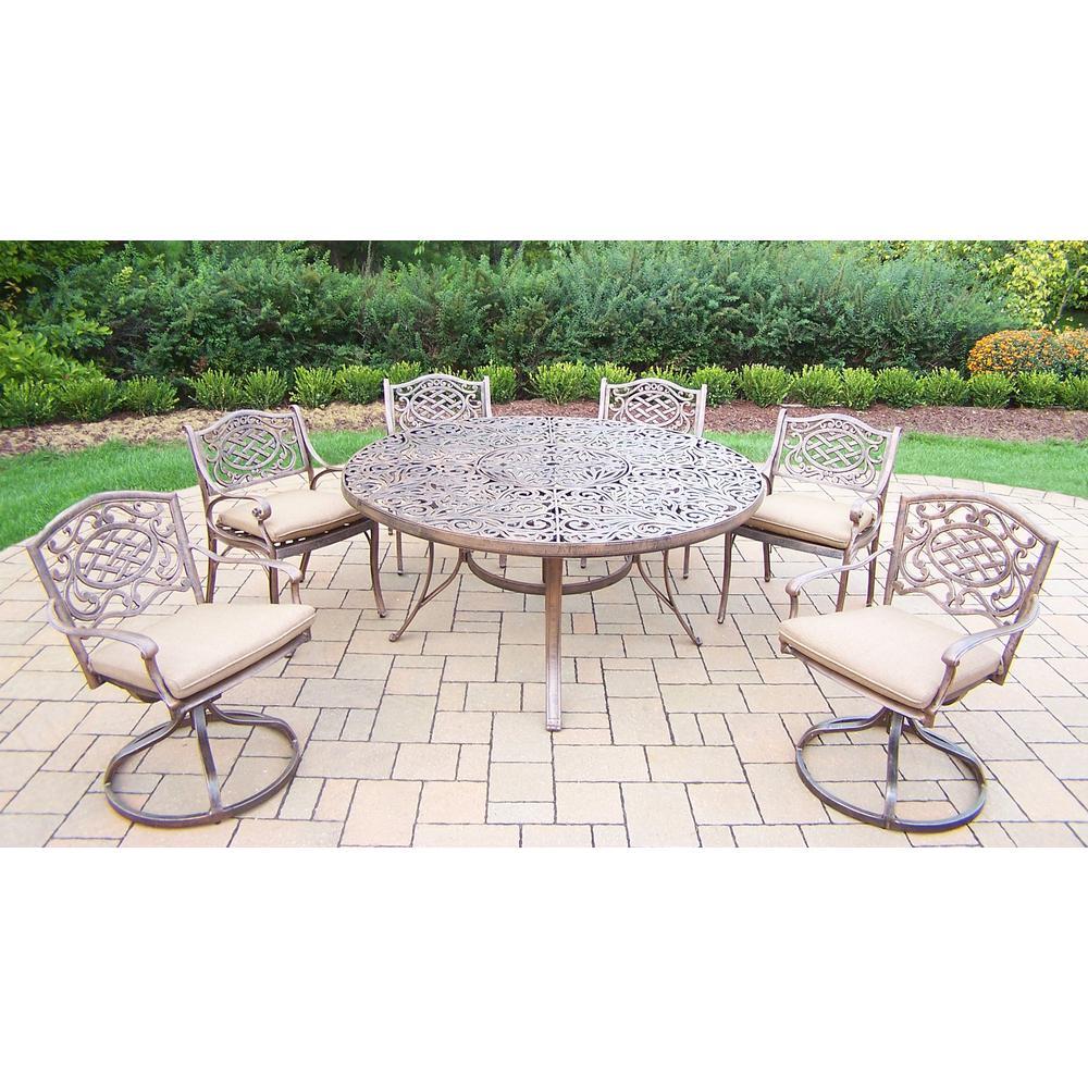 7-Piece Aluminum Outdoor Dining Set with Sunbrella Beige Cushions
