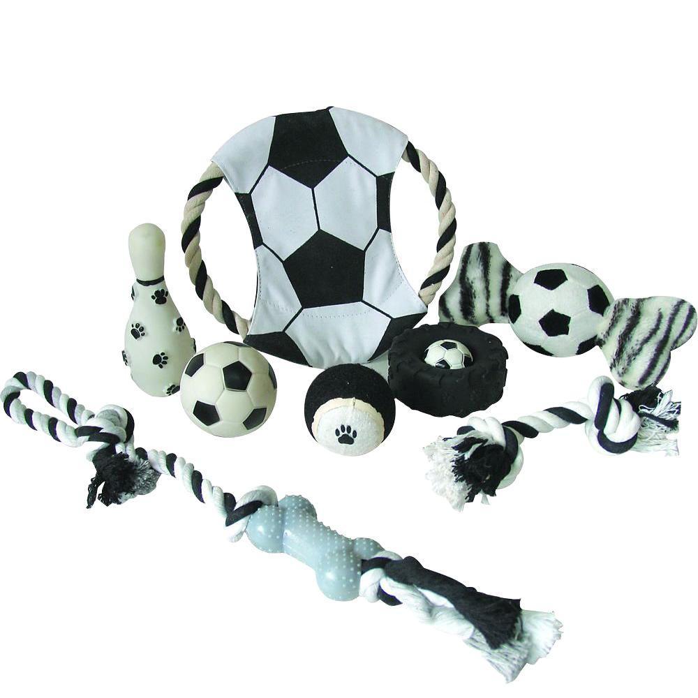 Pet Lift Soccer Themed Pet Dog Rubber Plush and Jute Rope...