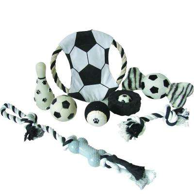 Soccer Themed Pet Dog Rubber Plush and Jute Rope Squeak Toy Set in Red and Blue (8-Piece)