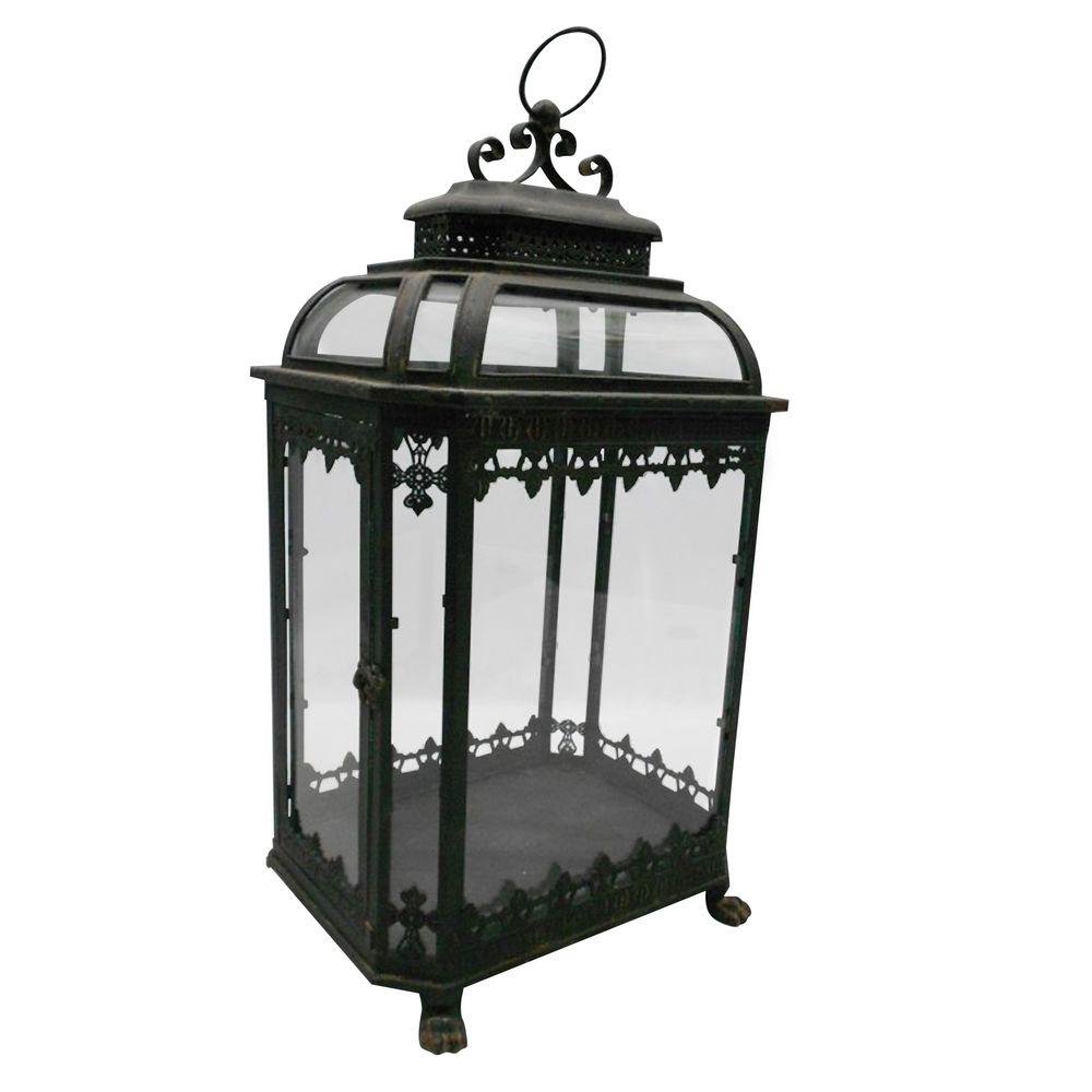 null 15 in. W x 25.5 in. H Glass Battery-Powered Candle Lantern with Metallic Frame-DISCONTINUED